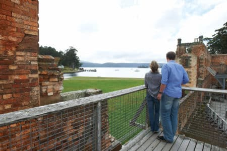 Tourists exploring the Port Arthur historic site