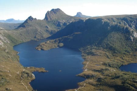 Lake St Clair and Cradle Mountain from the air