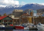 Hobart waterfront with Mt Wellington in the background