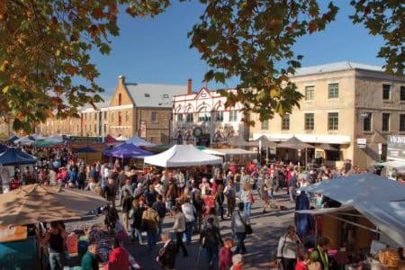 A bustling market in Hobart