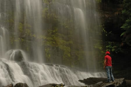 Man standing in front of Russel Falls in Tasmania