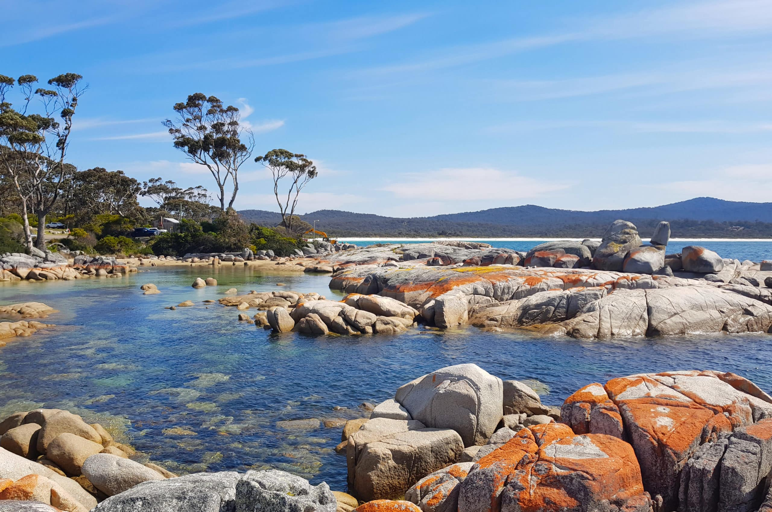 Colourful lagoon in the Bay of Fires