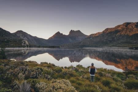Man viewing Cradle Mountain